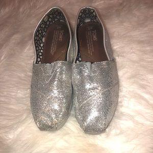 Silver glitter toms size 7